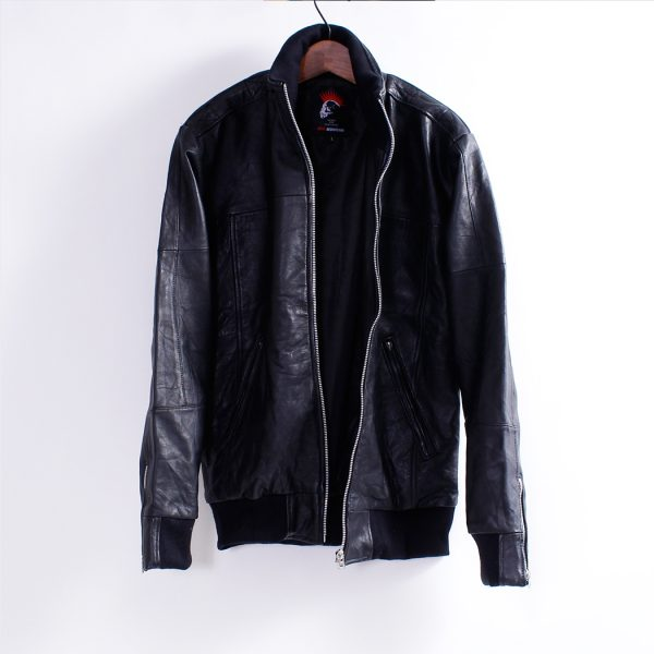 Men's Leather Jacket – Stand Zip